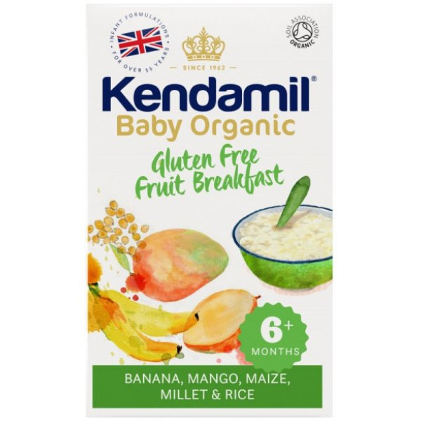 Kendamil BIO/Organická dětská bezlepková ovocná kaše snídaně 150g Bílá
