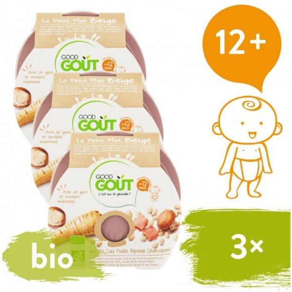 Good Gout 3x BIO večeře - Bílé fazolky s kuřátkem a žampiony 220 g
