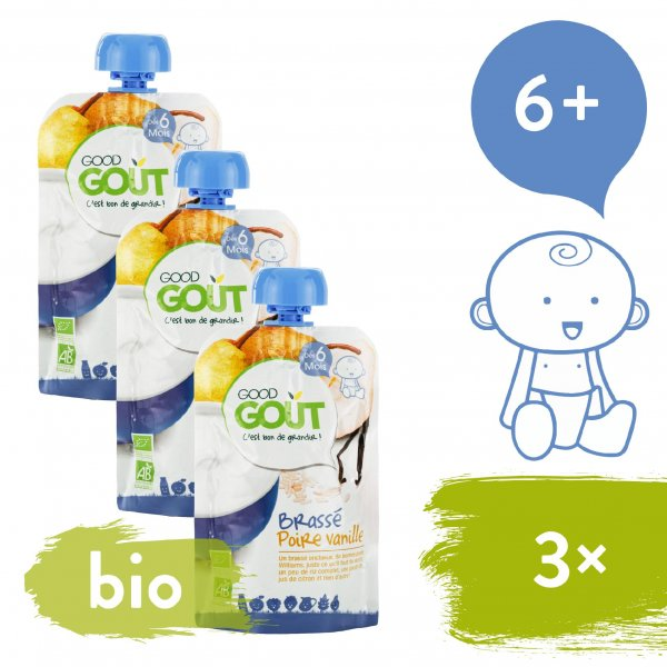 Good Gout 3x BIO Vanilkový jogurt s hruškou 90 g
