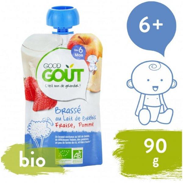 Good Gout BIO Ovčí jogurt s jablkem a jahodou 90 g