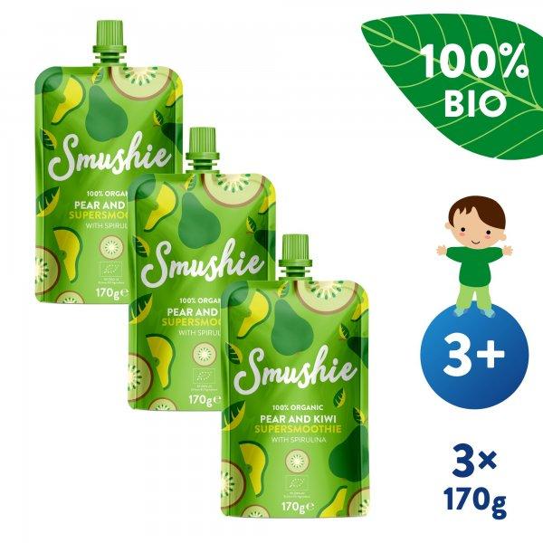 Salvest Smushie 3x BIO Ovocné smoothie s hruškou, kiwi a spirulinou (170 g)