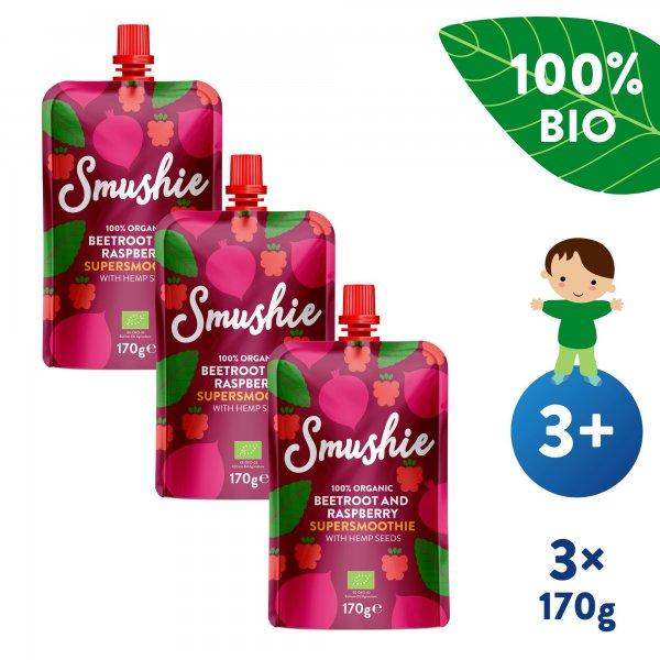Salvest Smushie 3x BIO Ovocné smoothie s červenou řepou, malinami a konopnými semínky (170 g)