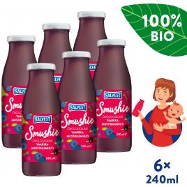 6x Salvest Smushie BIO Ovocné smoothie s borůvkami, malinami a černým rybízem (240 ml)