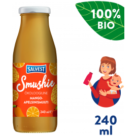 Salvest Smushie BIO Ovocné smoothie s mangem, ananasem a pomerančovou dužinou (240 ml)